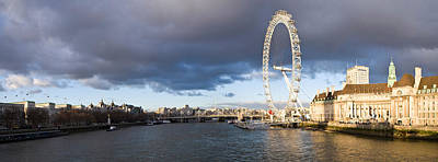 London Eye Photograph - London Eye At South Bank, Thames River by Panoramic Images