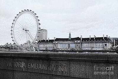London Eye Photograph - London Eye Mono by Jasna Buncic