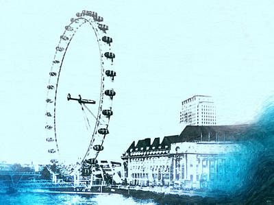 London Eye Mixed Media - London Eye Vintage by Daniel Janda