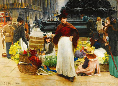 Food And Beverage Painting - London Flower Girls by Celestial Images