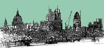 Pen And Ink Illustration Mixed Media - Dark Inked London In Green Blue Ink by Adendorff Design