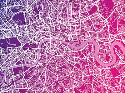 Great Digital Art - London Map Red by Michael Tompsett