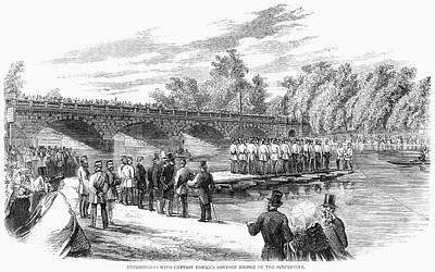 Hyde Park Painting - London Pontoon, 1860 by Granger