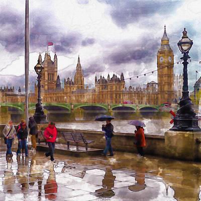 London Rain Watercolor Print by Marian Voicu