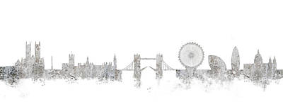 London Skyline Mixed Media - London Skyline England by Lila Shravani