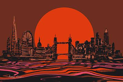 London Skyline Painting - London Skyline In Orange by Artist Singh