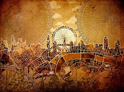 London Eye Digital Art - London Skyline Old Vintage  by Bekim Art