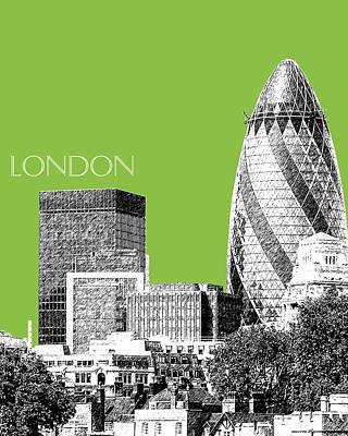 Gherkin Digital Art - London Skyline The Gherkin Building - Olive by DB Artist