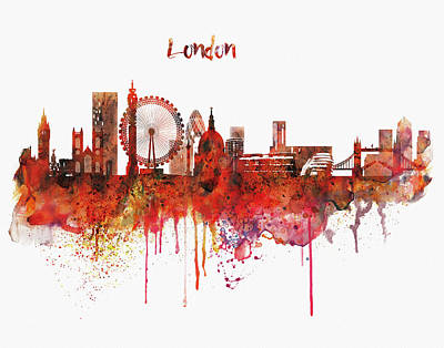 The View Mixed Media - London Skyline Watercolor by Marian Voicu