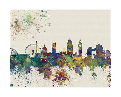 London Skyline Painting - London Skyline by WaterColorMaps Chris and Mary Ann