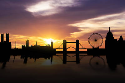 Panoramic Mixed Media - London Sunset Skyline  by Aged Pixel