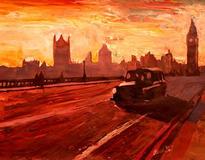 London Taxi Big Ben Sunset With Parliament Print by M Bleichner