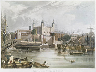 Tower Of London Painting - London Thames River, 1819 by Granger