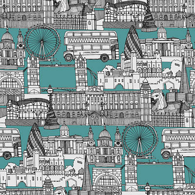 London Eye Drawing - London Toile Blue by Sharon Turner
