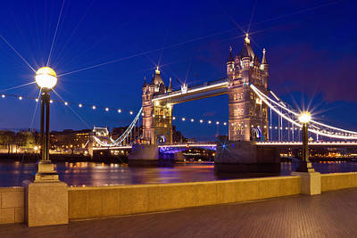 Great Britain Digital Art - London Tower Bridge By Night by Melanie Viola