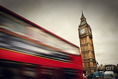Politics Photograph - London Uk Red Bus In Motion And Big Ben by Michal Bednarek