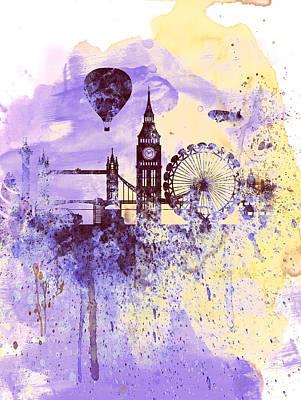 London Watercolor Skyline Print by Naxart Studio