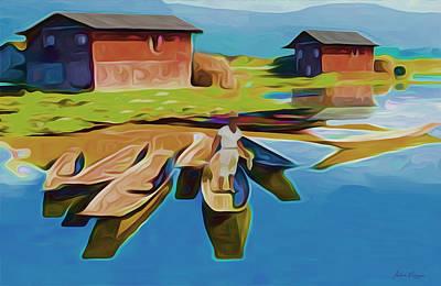 Canoe Mixed Media - Lone Fisherman by Carlos Villegas