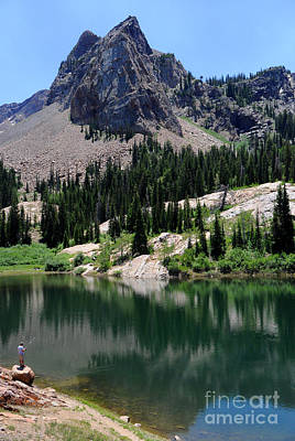 Blanche Photograph - Lone Fisherman - Lake Blanche - Wasatch Mountains by Gary Whitton