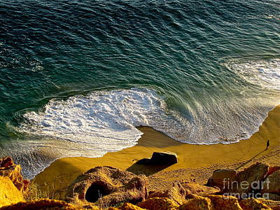 Lone Hiker At Sunset On Secluded Beach At Cabo San Lucas Print by Sean Griffin