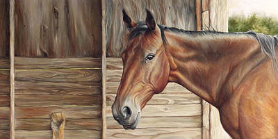 Barn Wood Painting - Lone Mare by Brent Schreiber