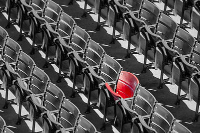 Lone Red Number 21 Fenway Park Bw Print by Susan Candelario