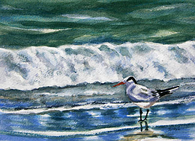 Painting - Lone Tern With Surf by Julianne Felton
