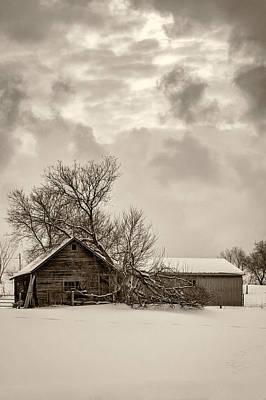 Winter Storm Photograph - Loneliness Sepia by Steve Harrington