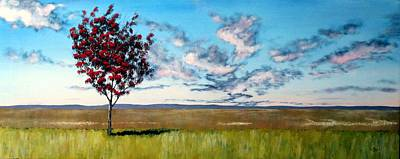 Field. Cloud Painting - Lonely Autumn Tree by Michael Dillon