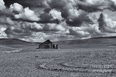 Storm Photograph - Lonely Barn On The Prairie by Mike Dawson