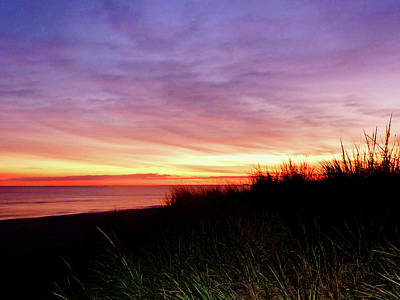 Lonely Beach At Sunrise Norfolk Va Print by Susan Savad