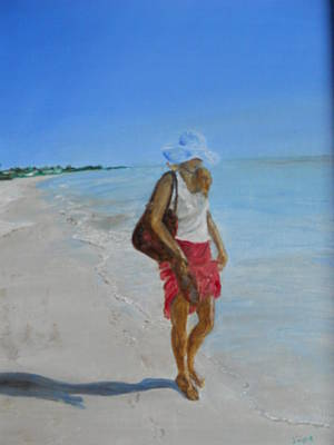 Lonely Beach Walk Print by Joyce Reid