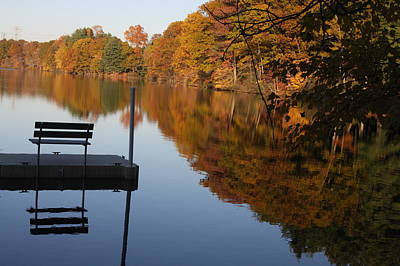 Autumn Photograph - Lonely Bench On The Pier by Vadim Levin