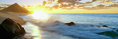 Lands End Photograph - Lonely Fisherman On Beach At Sunrise by Panoramic Images