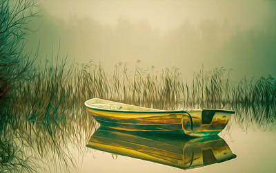 Lonely Fishing Boat On The Lakeside Print by Lanjee Chee