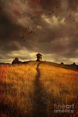 Lonely House On The Hill Print by Jaroslaw Blaminsky