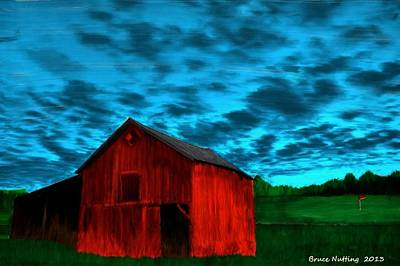 Barn Painting - Lonely Red Barn by Bruce Nutting