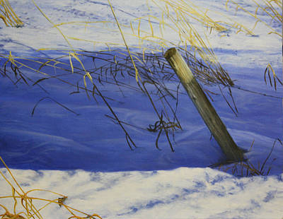 Winter Scene Painting - Lonely Relic by Tammy  Taylor