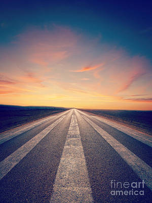 Road Photograph - Lonely Road At Sunset by Colin and Linda McKie