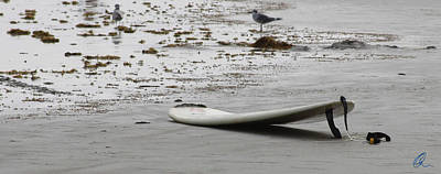 Kahuna Photograph - Lonely Surfboard Lg by Chris Thomas