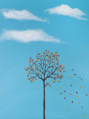 Leaf Stencil Painting - Lonely Tree by The Jones Art Channel