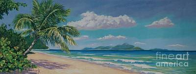 Trinidad Painting - Long Bay Beach  9x23 by John Clark