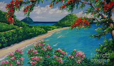 Hills Painting - Long Bay Tortola   9x15 by John Clark