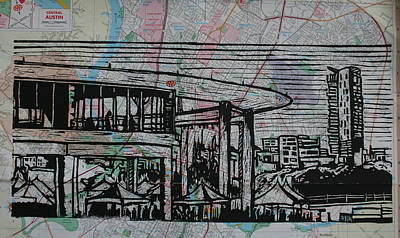 Lino Drawing - Long Center On Map by William Cauthern