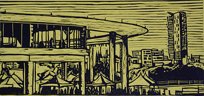 Lino Drawing - Long Center by William Cauthern