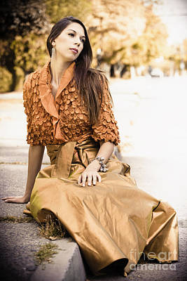 Long Dark Haired Brunette Woman With Brown Eyes Sitting On Pavement With Formal Dress On Print by Joe Fox
