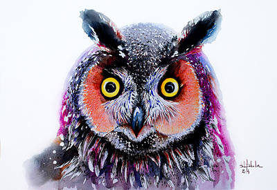 Brush.media Drawing - Long Eared Owl by Isabel Salvador