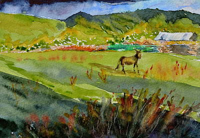 Donkey Watercolor Painting - Long Shadow Storm by Beverley Harper Tinsley