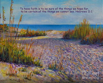 With Scripture Painting - Longboat Key View With Scripture by Lou Ann Bagnall