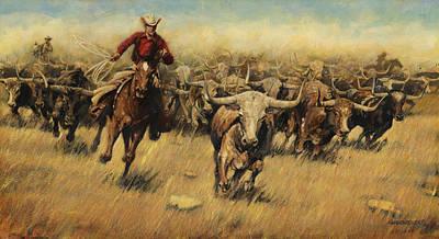 Don Painting - Longhorn Stampede by Don  Langeneckert